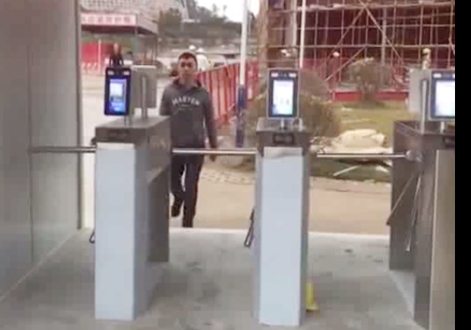 Face recognition tripod turnstile for construction site