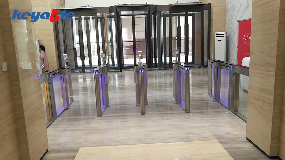 Glass sliding barrier turnstile