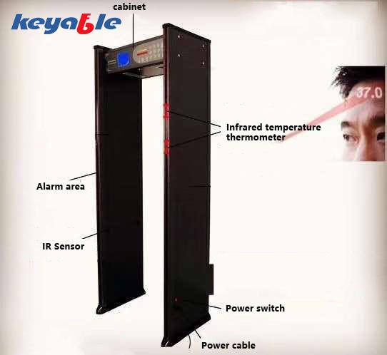 Infrared temperature thermometer walk through metal detector