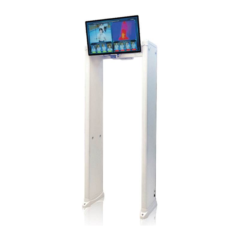 Thermal imaging temperature measurement walk through metal detector security door
